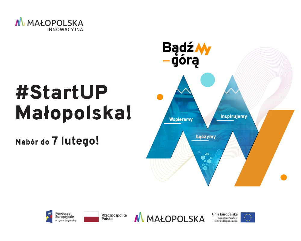 Napis #StartUp Małopolska!