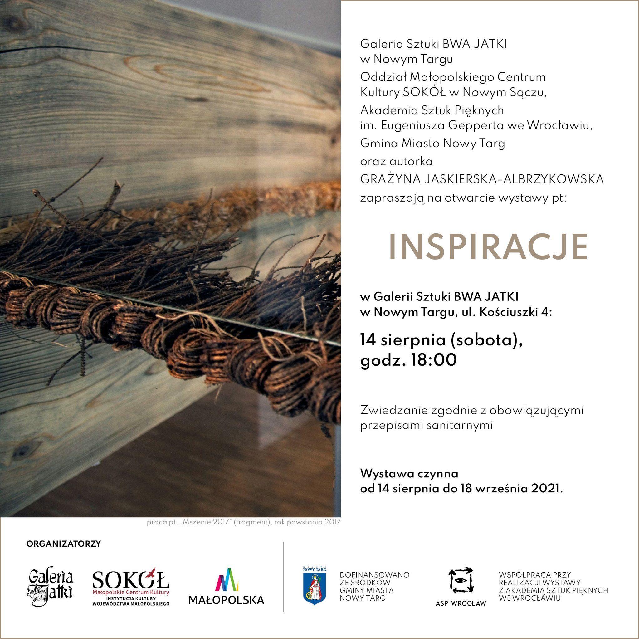 Inspiracje -grafika promująca wystawę.