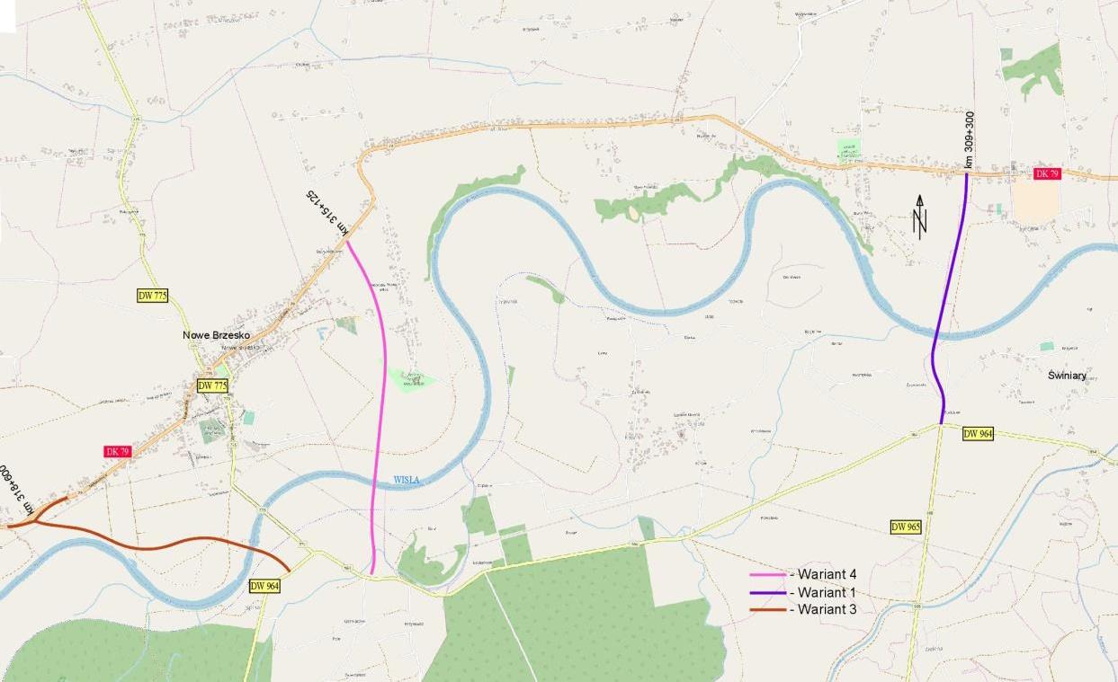 Mapa -wstępne lokalizacje przyszłego mostu